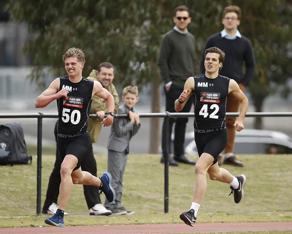 Jay Rantall and Finn Maginness complete the 2km time trial during the 2019 AFL Draft Combine - Collingwood Magpies