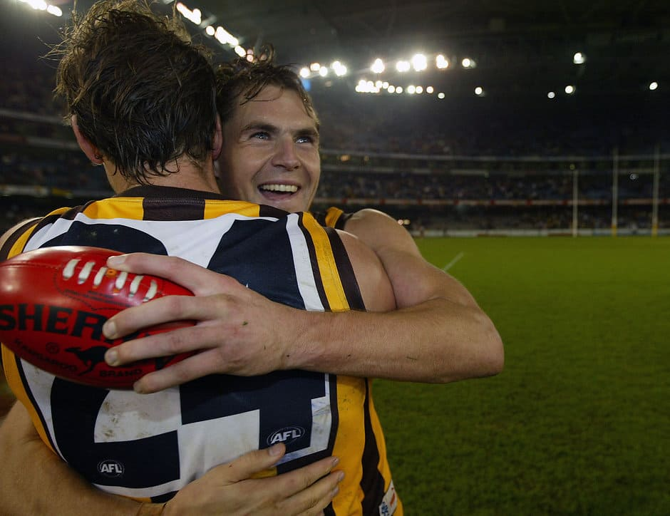 Luke Hodge of Hawthorn (R) hugs team mate Trent Croad (24)at the end of the AFL Round 12 match between the Carlton Blues and Hawthorn Hawks at the Telstra Dome.